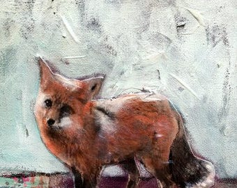 Painting fox original  mixed media  on canvas Heather Murray