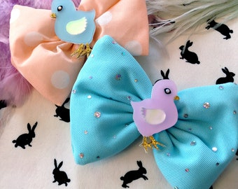 Easter Laser Cut Acrylic Baby Chick Pastel Peach Polka Dot and Aqua Sparkle Hair Bows