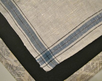 Linen Dish Towel with blue stripe