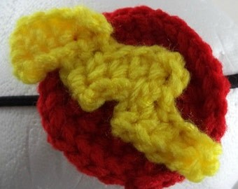 Crocheted Lightning Bolt Headband - Yellow and Red (SWG-HH-HEFL01)