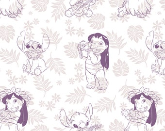 Hula Toile in Wildberry Lilo and Stitch Disney Woven Cotton Fabric BTY