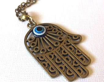 Oversized Hamsa and Evil Eye Necklace on Bronze Cable Chain - Hamsa Hand Pendant