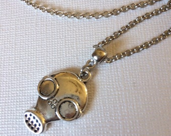 Gas Mask Pendant Silver Rolo Chain - Mens Mecklace - Mens Jewelry