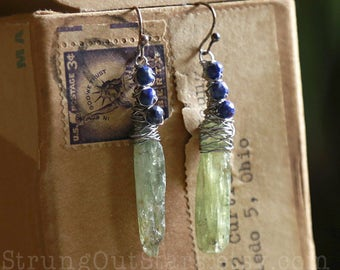 Leaves of Grass - Strung-Out guitar string earrings with green kyanite and lapis