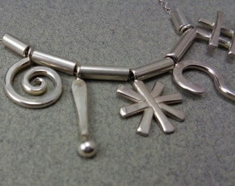 Cursory Necklace: Sterling Silver Handcrafted Charms Cartoon Cursing Swear Words Symbols