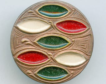 """Painted Arts & Crafts Style Antique Button Large RED WHITE GREEN 1 1/8"""" Victorian Edwardian 3692"""