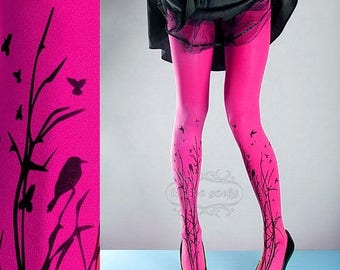 ON SALE/// Tattoo Tights -  magenta one size Forest Symphony full length closed toe printed tights pantyhose, tattoo socks, printed nylons