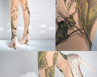 ON SALE/// Tattoo Tights -  Climber Plant nude one size full length closed toe pantyhose tattoo socks ,printed tights