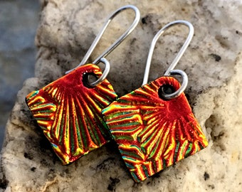 DICHROIC EARRINGS Orange/Red Simple Little Sterling Silver & Fused Glass