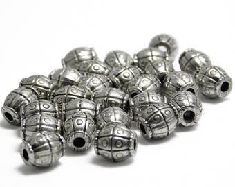"""Silver Beads - Antique Silver - Large Hole Beads - Barrel Beads - Metal Beads - Spacer Beads - 8x7mm - 8"""" Strand (3157)"""