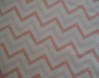 Pink & White Chevron Stripe   LG  Flannel Receiving Swaddling Baby Blanket  Nursing Cover