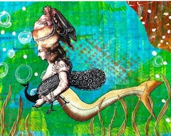 Collage Print on Fabric - Victorian Mermaid