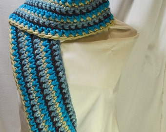 Super Bulky Super Soft Super Fun Crocheted Scarf with Hand Dyed Yarn by Yarn Hollow