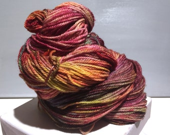 "Sock yarn, fingering weight, handpainted yarn, ""Dawn"" shawl yarn sock weight, Blue Rust green purple tan red yellow ochre pink"