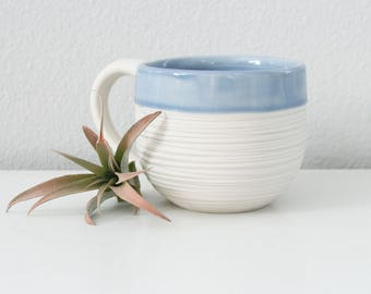 Modern Porcelain Mug Blue, Groove Mug in Cornflower Blue