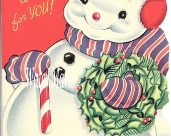 SNOWMAN and candy cane*O darling*Instant digital download*Great