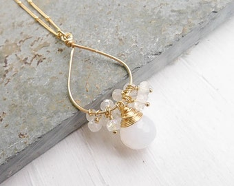 White Chalcedony Oval Fringe Necklace with Rainbow Moonstone Cluster Gold Oval Pendant Gemstone Drop