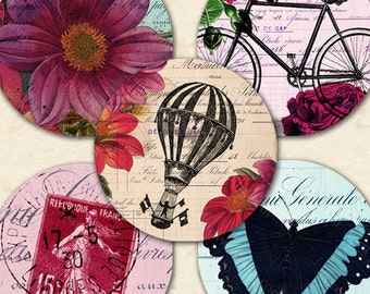 Printable Instant Download Flowers Floral Butterflies Bicycles Dragonflies Eiffel Tower Balloons 1 Inch Circles Art, piddix 1129