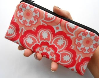 Zipper Pouch Smart Phone Pouch ECO Friendly Padded NEW SIZE Coral Pop