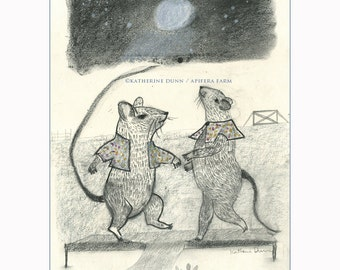 Drawing: Midnight Dance of Mice Lovers