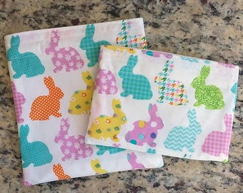 Reusable Snack Bag, Sandwich Bag with Rainbow Bunnies, Zero Waste lunch for kids and moms