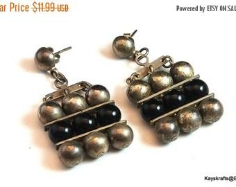25% OFF Vintage Art Deco Earrings, Black Gray Earrings, Art Nouveau Earrings, Black Gray Stud Dangle Earrings, Gift For Her