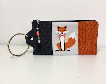 Fox Bangle Wristlet, Wristlet with Zipper Pull, Bangle Wristlet, Foxes Wristlet
