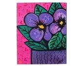 Purple Pansies Wall Art -...