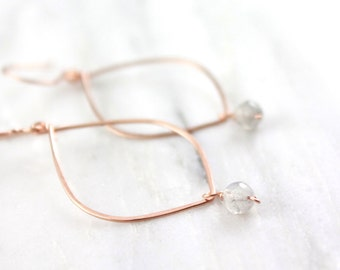 Rose Gold Pointed Hoop with Labradorite Earrings