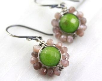 Peach Moonstone and Olivine Jade Wrapped Flower Earrings