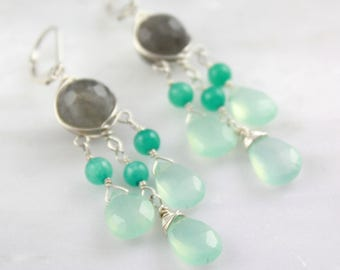 Labradorite, Apatite and Chalcedony Chandelier Earrings