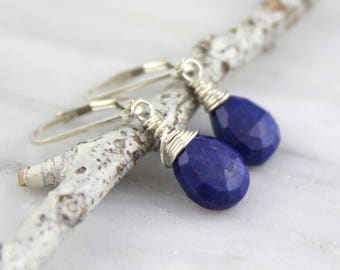 Cobalt Blue Lapis Small Teardrop Silver Earrings