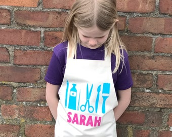 Personalised Craft Apron|personalised apron|kids apron|childrens apron|artists apron|boys gift|girls gift|kitchen gift|baking gift