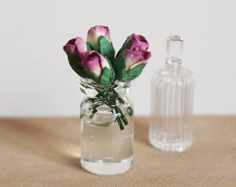 Dolls House Miniature Jar of pink roses in water