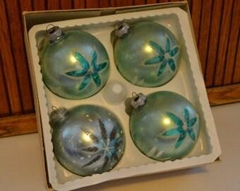Four Large Christmas Ornaments - Aqua - Glitter - Royal Hill Vintage