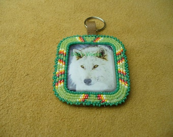 Native American Style Rosette beaded Wolf Key Chain