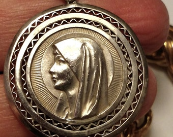 Large Art Deco Vintage Marked Sterling Silver Virgin Mary Religious Medal Pendant