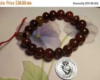 Sacred Bleeding Heart Dark Red Amber Colored Agate Stone Stretch Bead Bracelet Silver Religious Medal Charm Goth Gothic Steampunk Rocker