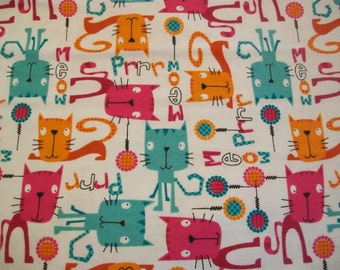 Prrr Meow Kitty - Snuggle Cotton Flannel Fabric BTY - Pink Orange and Blue