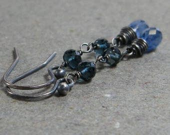 Blue Kyanite Earrings London Blue Topaz Long Dangle Gemstones Oxidized Sterling Silver Earrings