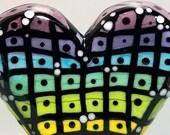 Rainbow Grid Heart--Handmade Lampwork Glass Bead