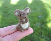 Miniature Brown Mouse Needle Felted Tiny Figurine