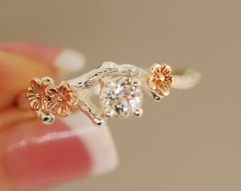 Bud Branch with Rose Gold Blossoms,twig ring,branch ring,alternative engagement ring,wedding ring, gold twig ring,