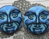Blue man in the moon Czech glass moon buttons for mysterious projects..READ PLEASE-you will get THREE
