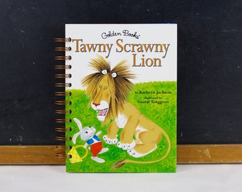 Recycled Golden Book Journal - Tawny Scrawny Lion - journal made from recycled vintage book