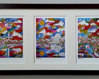"Tidal Basin Bloom ~ Framed panorama triptych ~ Washington DC Cherry Blossoms ~ 20""x10"" ~ FREE SHIPPING ~ Signed art by Joel Traylor"