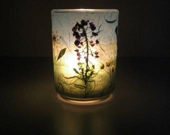 The Meadow Earth Light – candle, candle holder, botanical home décor, pressed flowers, handmade papers, Spring candle, natural, ooak, gift