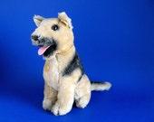 Vintage German Shepard Puppy Dog Stuffed Animal by R. DAKIN 1975 Original Chain Collar 1970s Toys