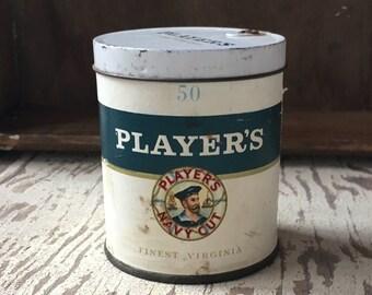 Vintage Players Cigarette Tin, Tobacco Tin, Navy Cut, Advertising Tin, Tobacciana, Collectible, Tobacco Collector, Box, Tin, Can, Sailor