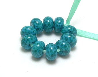 Aqua and Dark Turquoise - Handmade Lampwork Glass Beads SRA